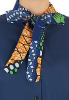 AfroDizzy - Kitty-bow Blouse with African-print Detail Navy
