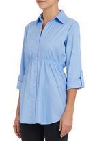 edit - Longer-length Shirt Pale Blue  Pale Blue