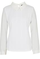 Suzanne Betro - Blouse with Collar Detail White