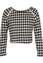 Suzanne Betro - Diamond-print Crop Top Black/White Black and White