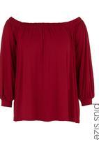 edit - Off-the-shoulder Blouse Dark Red Dark Red