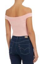 c(inch) - Crew-neck Bodysuit Pink Pale Pink