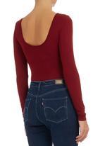 Shoez Group - Bodysuit with Open Back Dark Red Dark Red