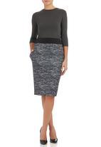 Isabel de Villiers - Scuba Midi Skirt Black/White  Black and White