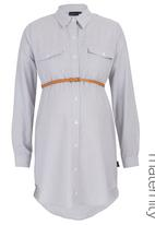 Cherry Melon - Long Shirt with belt CM223A-STR Mid Blue