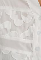 Suzanne Betro - Lace trim henley blouse White