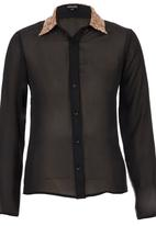 c(inch) - Shirt with Contrast Collar Black