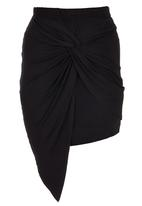 c(inch) - Knot-front Skirt Black