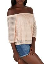 STYLE REPUBLIC - Off the Shoulder Lace Top Pale Pink