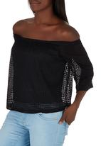 STYLE REPUBLIC - Off the Shoulder Lace Top Black