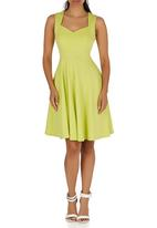 edit - Sweetheart Fit-and-flare Dress Chartreuse
