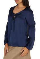 STYLE REPUBLIC - Peasant Tie-up Blouse Navy