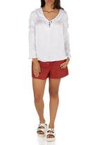 STYLE REPUBLIC - Peasant Tie-up Blouse White