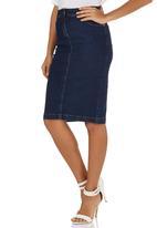 STYLE REPUBLIC - Denim Pencil Skirt Dark Blue