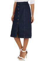STYLE REPUBLIC - A-Line Mid Button Down Skirt Dark Blue
