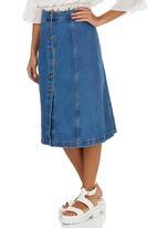STYLE REPUBLIC - A-Line Midi Button Down Skirt Mid Blue