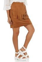 c(inch) - Front Fringe Suedette Mini Skirt Camel/Tan