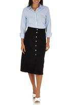 STYLE REPUBLIC - A-Line Midi Button Down Skirt Black