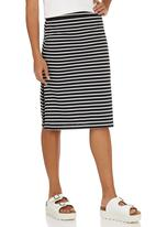 c(inch) - Slit Midi Skirt Black and White