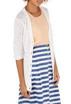 Passionknit - Tape Yarn V-neck Cardi White