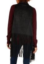 c(inch) - Suedette Fringe Vest Black