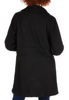 ZANZEA - Coat with Faux Fur Collar Black