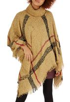 edit - Rollneck Check Poncho Camel