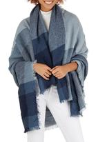edit - Oversized Border Check Scarf Mid Blue