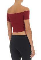 (C) INCH-Kate Jordan Designs - Off-the-shoulder Cropped Tank Top Dark Red Dark Red