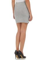 edge - High-waisted Mini Skirt Grey