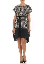 Isabel de Villiers - Colourblock Dress with Belt Multi-colour