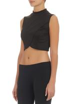 c(inch) - Cross-over Cropped Tank Black