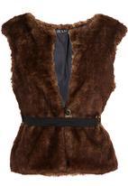 Ilan - Faux Fur Gillet with Belt Brown Mid Brown