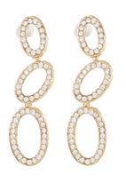 edit - Diamante Ovals Drop Earrings Gold