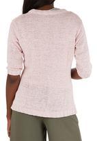 Passionknit - Tape Yarn V-neck Cardi Pale Pink
