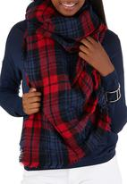c(inch) - Plaid Oversized Scarf Red