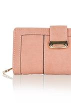 STYLE REPUBLIC - Classic Purse with Metal Trim Pale Pink