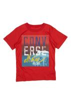 Converse - T-Shirt With Converse Print Dark Red