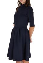 STYLE REPUBLIC - High Neck Fit & Flare Dress Navy
