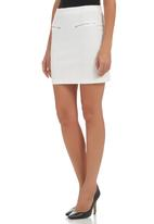c(inch) - High-waisted Mini with Zip Detail White