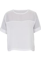 c(inch) - Boxy T-shirt with Insets White