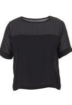 c(inch) - Boxy T-shirt with Insets Black