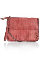 STYLE REPUBLIC - Fringe and Chain Clutch Red