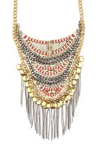 c(inch) - Ornate Tribal Bib Necklace Gold
