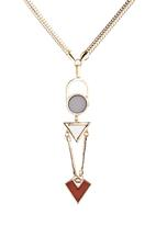 c(inch) - Longline Geometric Shapes Necklace Gold
