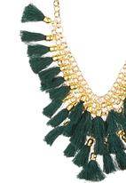 c(inch) - Ornate Tassel Necklace Green