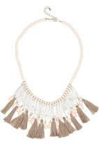 STYLE REPUBLIC - Ornate Tassel & Bead Necklace Cream