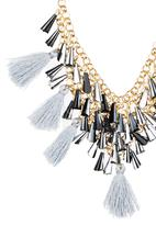 c(inch) - Ornate Tassel & Conical Beads Necklace Grey