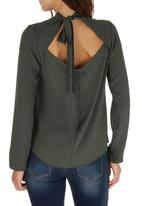 STYLE REPUBLIC - Open Back Blouse Khaki Green