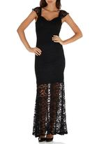ELIGERE - Sheer Lace Dress Black